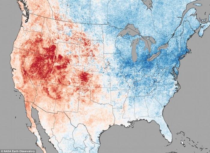 geoengineering, surface temperatures, usa, nasa, map
